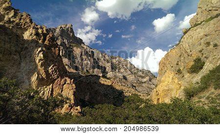 Craggy canyon walls of Rock Canyon, Utah.