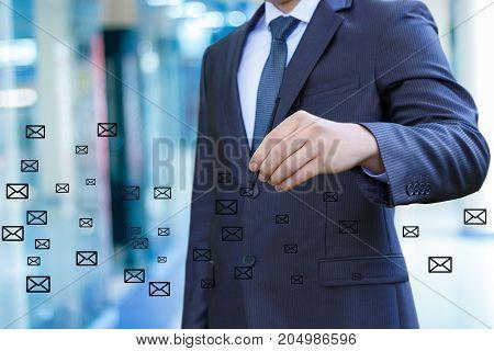 Businessman Draws Letters.