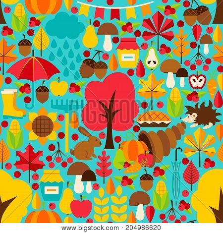 Fall Seasonal Seamless Pattern. Vector Background. Fall Season.