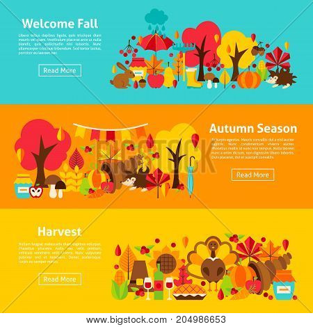 Fall Web Horizontal Banners. Vector Illustration of Autumn Concept.