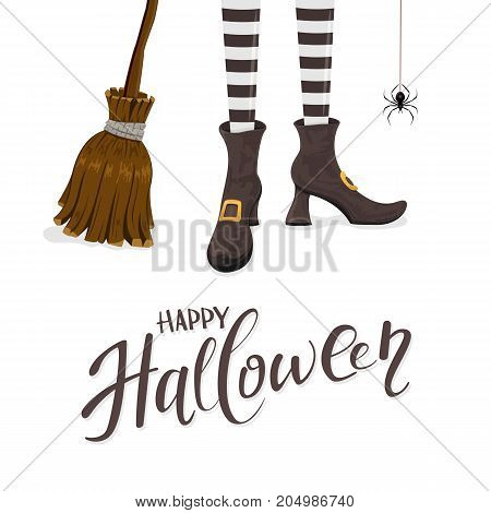 Lettering Happy Halloween with witches legs in shoes broom and spider on white background illustration.