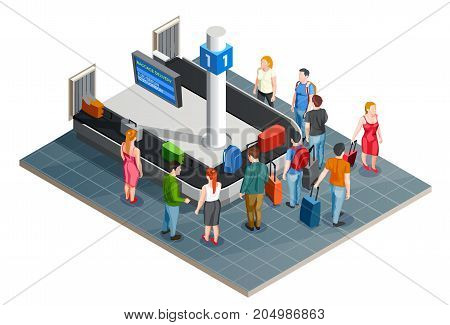 Conveyor line airport isometric composition with baggage carousel and arrival board images with characters of passengers vector illustration