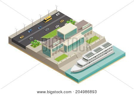 Modern river port building with luxurious holiday cruiser moored and highway on background isometric composition vector illustration