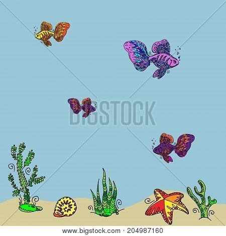 Set Of Colorful Ornamental Fishes