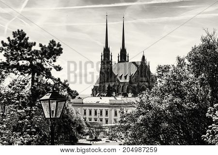 Cathedral of St. Peter and Paul in Brno Moravia Czech republic. Religious architecture. Beautiful place. Black and white photo.