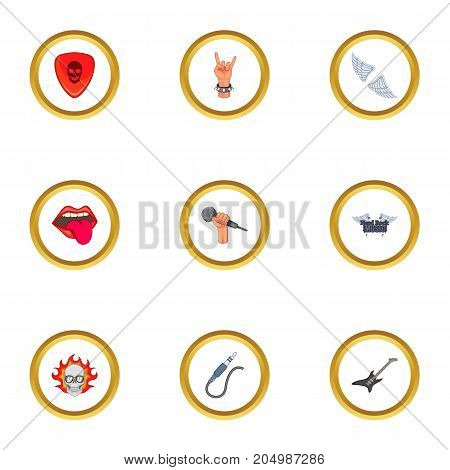 Metal icons set. Cartoon style set of 9 metal vector icons for web design