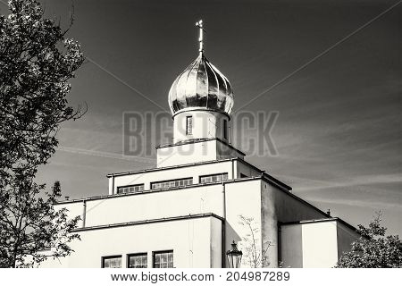 Saint Wenceslas orthodox cathedral in Brno Czech republic. Religious architecture. Black and white photo.