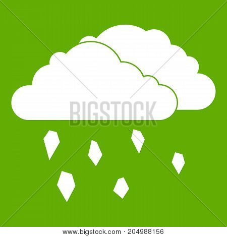 Clouds and hail icon white isolated on green background. Vector illustration
