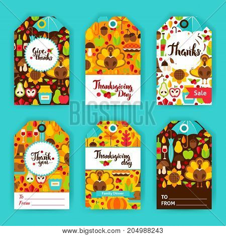 Thanksgiving Day Gift Labels. Vector Illustration of Fall Holiday Concept. Printable Badge Design.
