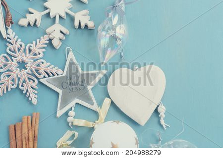 Blue and white christmas - styled christmas border flat lay style, retro toned