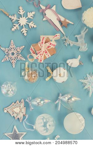 Blue and white christmas - styled christmas composition flat lay style top view, retro toned