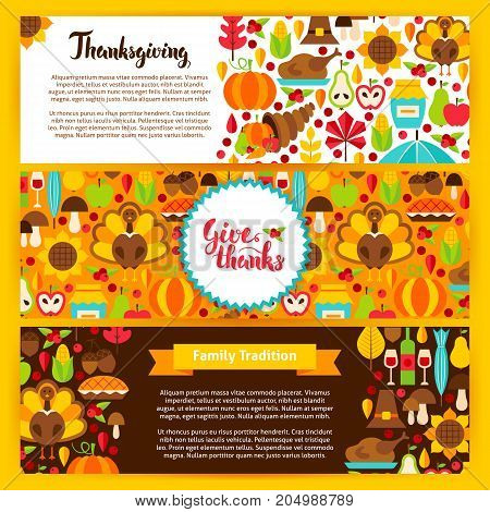 Thanksgiving Horizontal Banners. Vector Illustration. Autumn Holiday Website Headers.