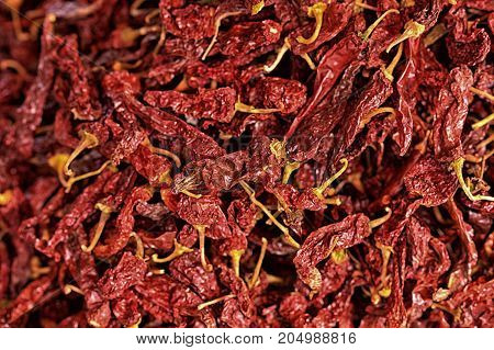 Close up view of dried hot pepper