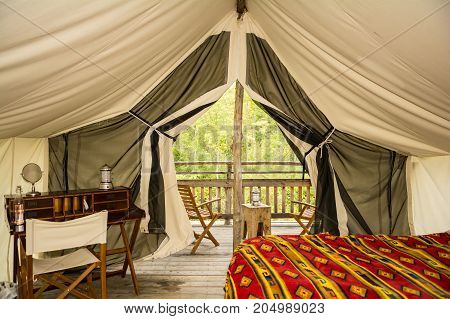 The inside of a glamor camping tent in New York