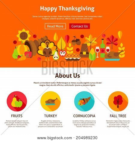 Web Design Happy Thanksgiving. Vector Illustration of Website Banner. Fall Holiday Concept.