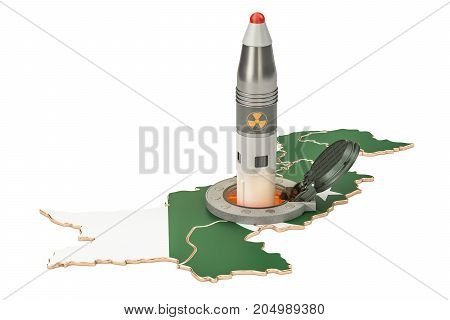 Pakistani missile launches from its underground silo launch facility 3D rendering