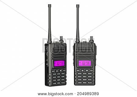 portable radios walkie-talkie 3D rendering isolated on white background