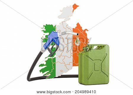 Production and trade of petrol in Ireland concept. 3D rendering isolated on white background