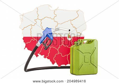 Production and trade of petrol in Poland concept. 3D rendering isolated on white background