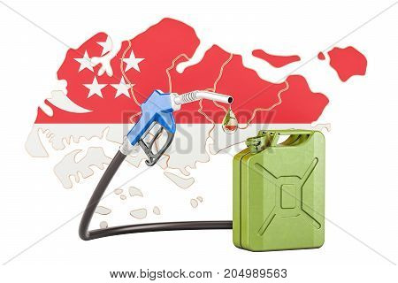 Production and trade of petrol in Singapore concept. 3D rendering isolated on white background