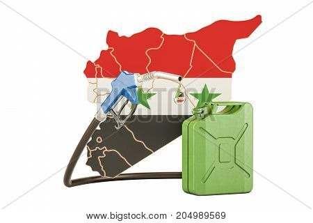 Production and trade of petrol in Syria concept. 3D rendering isolated on white background