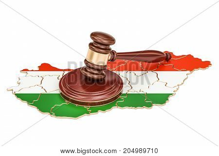 Wooden Gavel on map of Hungary 3D rendering isolated on white background