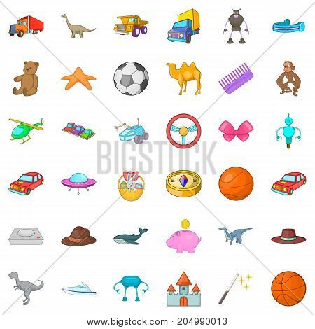 Dinosaurs icons set. Cartoon style of 36 dinosaurs vector icons for web isolated on white background