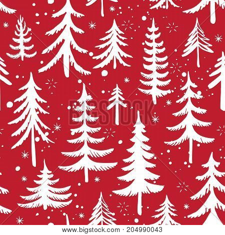 Seamless pattern with Christmas tree and snowflakes on red background. Stylized winter forest. Vector background.