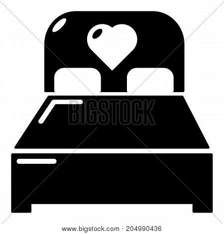 Wedding couple bed icon . Simple illustration of wedding couple bed vector icon for web design isolated on white background