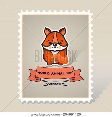 World animal day. Cute animal fox. Vector card with a line art cute animal fox and ribbon. Stamp. Mark. Postcard.