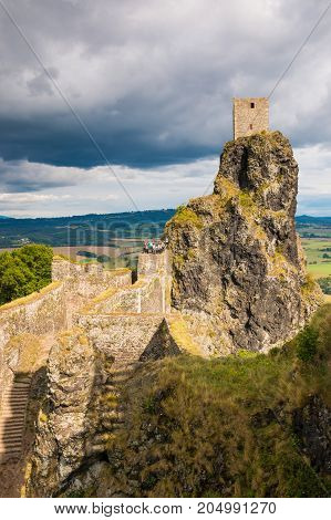 The ruins of medieval Castle Trosky in Czech Republic