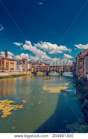 Ponto Vecchio bridge in Florence Italy at summer toned image