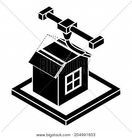 House d printing icon. Simple illustration of house d printing vector icon for web design isolated on white background