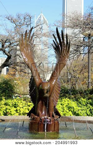 Eagle Fountains in Grant Park, Chicago, Illinois.