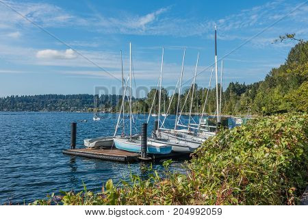 A view of sailboats at Gene Coulon Park in Renton Washington.
