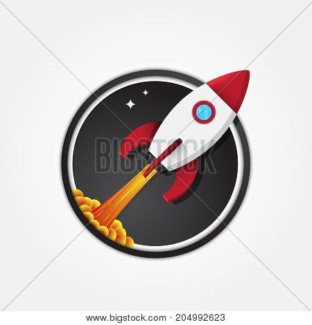 Starting spacecraft vector illustration in circle logo