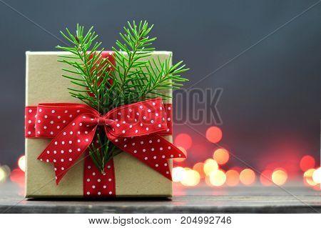 Christmas gift pinecone and red Christmas balls