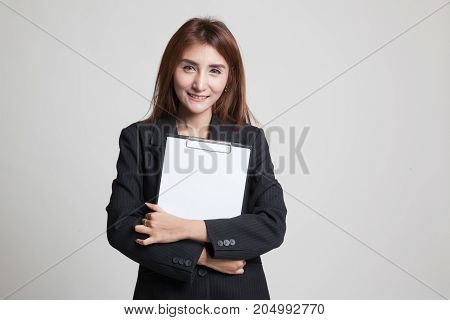 Young Asian Business Woman Hold Clipboard.