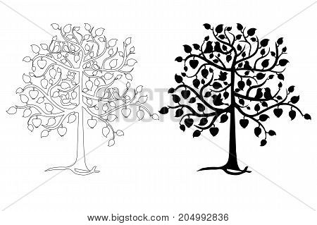 Monochrome apple tree with birds and apples for coloring page stock vector illustration