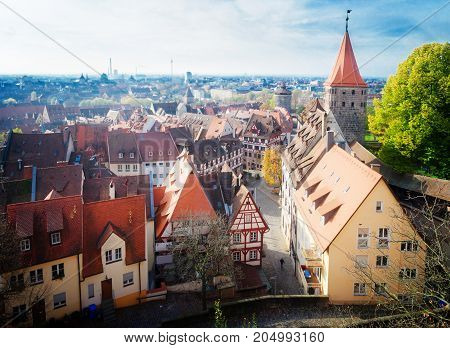 cityscape of Old town of Nuremberg with city wall, Germany, retro toned