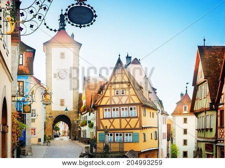 Plonlein and Kobolzell Gate of Rothenburg ob der Tauber, Germany, retro toned