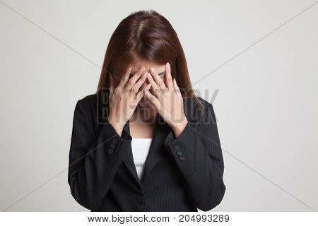 Sad Young Asian Woman Cry With Palm To Face.