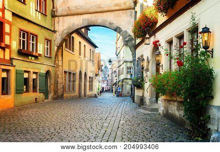 Roderbogen arch in Rothenburg ob der Tauber, Germany, retro toned