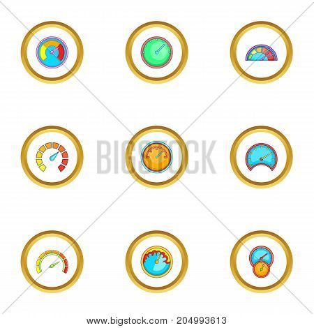 Types of speedometers icons set. Cartoon style set of 9 types of speedometers vector icons for web design