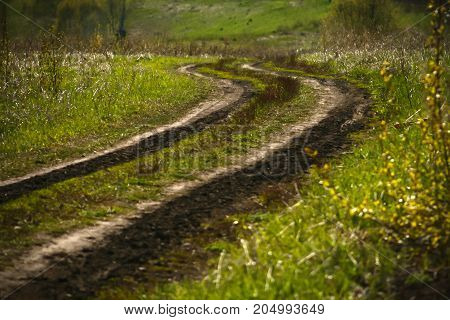 Mountain spring road in nature . Selective focus