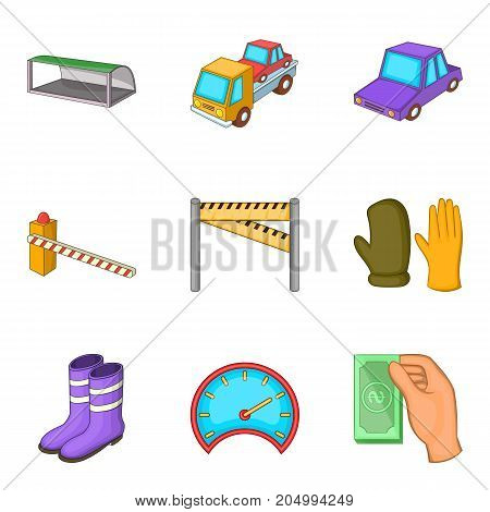 Evacuation of car icons set. Cartoon set of 9 evacuation of car vector icons for web isolated on white background