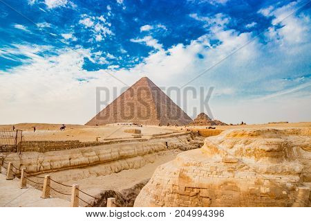 The pyramid on the background in Cairo, Egypt