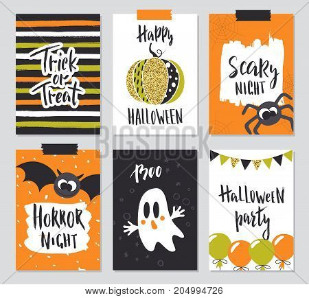 Set of Halloween hand drawn greeting card with calligraphy quotes, words and phrases.Vector illustration with cute spider, pumpkin, bat and ghost