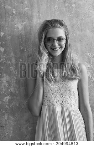 Pretty Happy Girl With Blonde Hair In Yellow Dress, Sunglasses