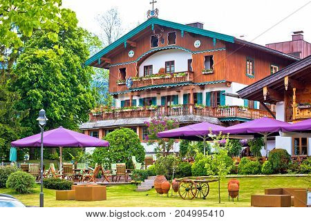 Traditional German Architecture Of Rottach Egern Village On Tegernsee Lake